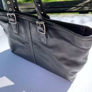 Coach Large Black Leather Tote 5246